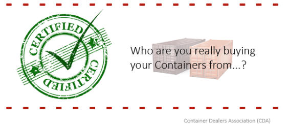Certified shipping container dearler from the Container Dealers Association.